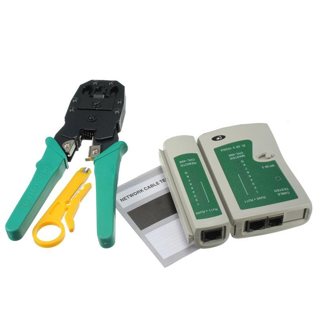 RJ45 RJ11 RJ12 CAT5 CAT5e Portable LAN Network Tool Kit Utp Cable Tester AND Plier Crimp Crimper Plug Wire Stripper Heads 4-in-1