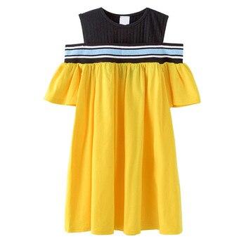 278da65e854d466 От 4 до 14 лет, летнее Хлопковое платье с вырезами на плечах для  девочек-подростков модное желтое платье для девочек