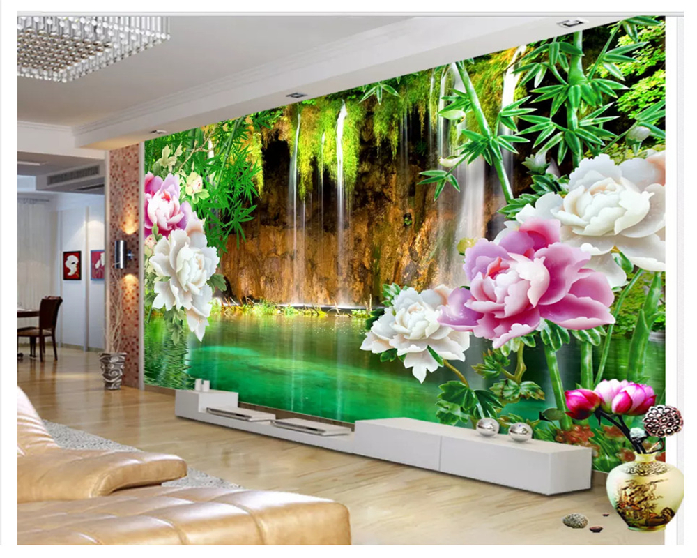 beibehang Jade Water Curtain Waterfall Bamboo Peony TV Wall Decorative Painting papel de parede wallpaper for walls 3 d behang