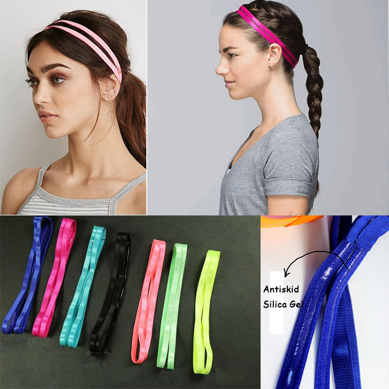 Fantastic 10 Colors Double Sports Elastic Headband Yoga Anti-Slip Hairband Hair Head Bands Accessories
