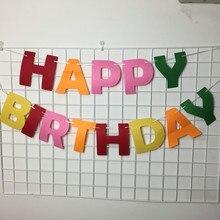 Partywakaka Feliz Festa De Aniversário Grandes letras bandeira feltro Não tecido Decoração Suprimentos