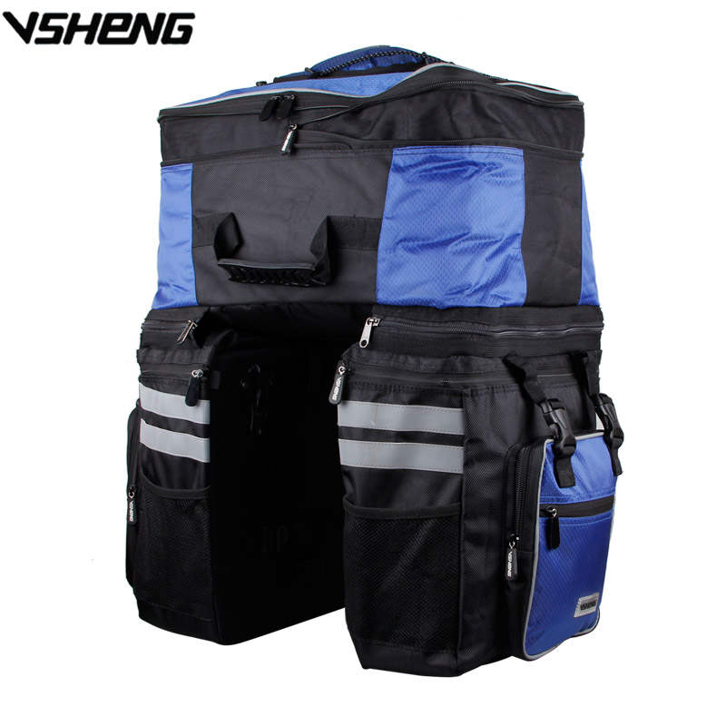 VSHENG Large Capacity Removable Cycling Bag Rain Cover Bicycle Rear Tail Bag Travel Cycling Storage Rack Trunk Bag Bike Pack A2 roswheel 20l multifunctional waterproof bicycle bag black pvc cycling trunk rear tail pack bag riding bike bicycle storage bag