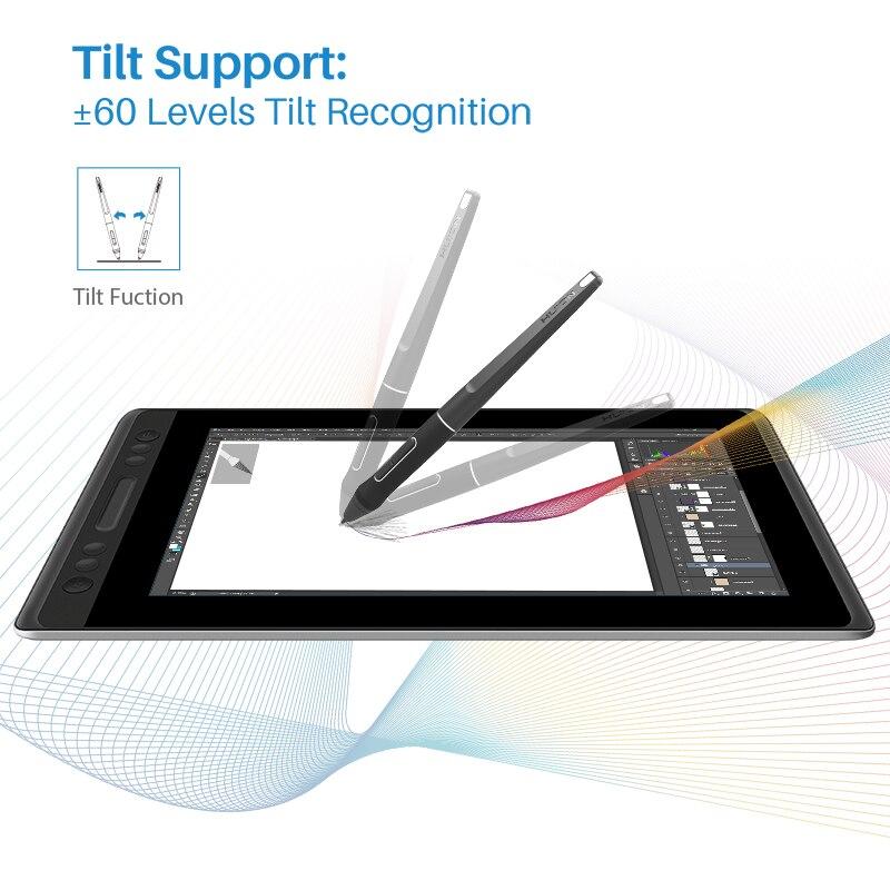 HUION Kamvas Pro 13 GT-133 Support d'inclinaison stylo sans batterie dessin graphique tablette écran d'affichage avec touches Express et barre tactile - 2