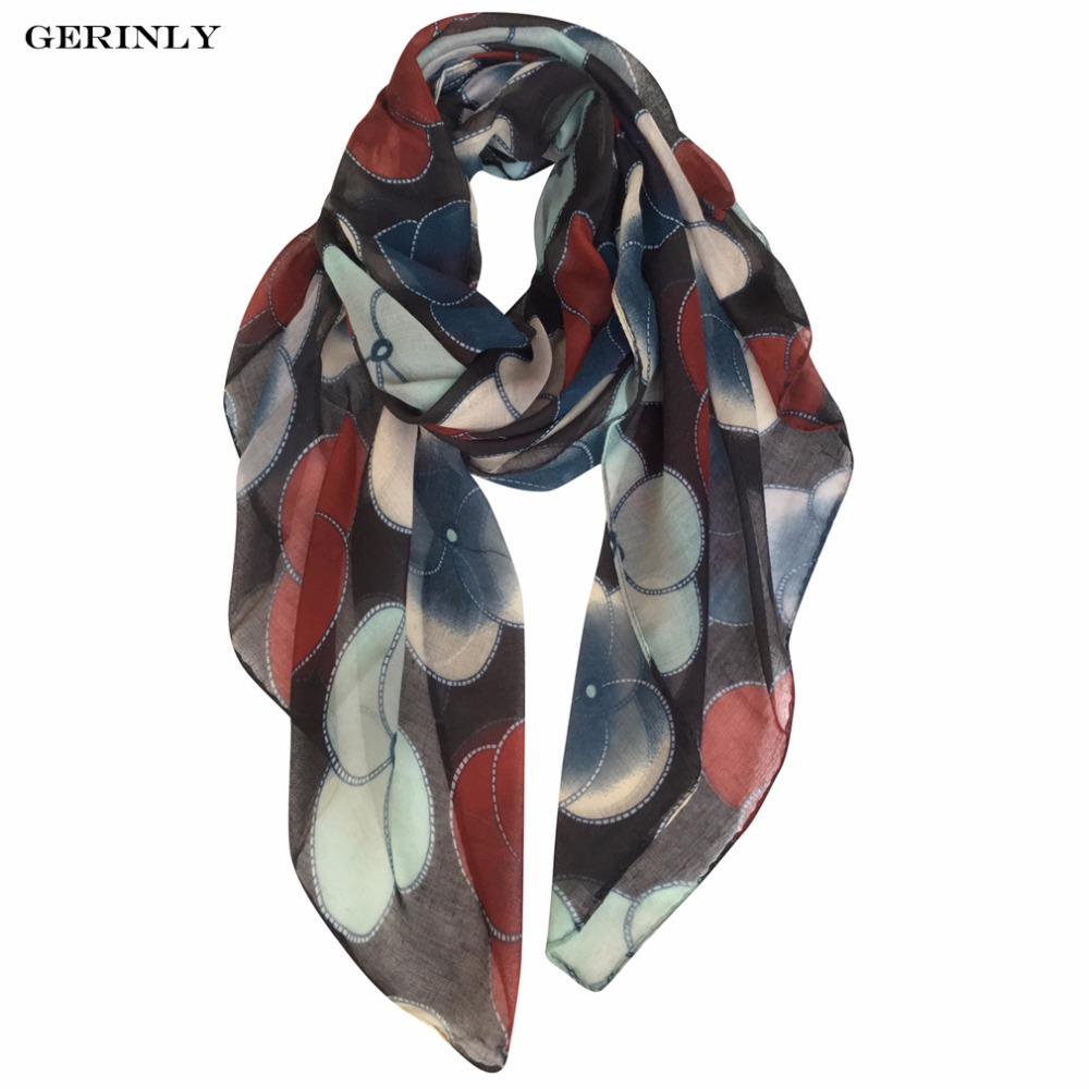 GERINLY Printing   Scarf   Women 180x90cm Evening Primrose Flowers Long   Scarves   Luxury Brand Shawl   Wraps   Viscose Hijab   Scarf   4 Color