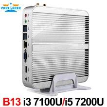 Intel Core i5 7200U/i3 7100U причастником 7TH Gen kaby Lake Win10 безвентиляторный Мини-ПК 4 К HTPC безвентиляторный NUC Intel HD Графика 620