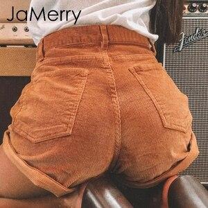 JaMerry Vintage corduroy high waist shorts bottoms women Casual streetwear shorts female Loose summer button short shorts 2019