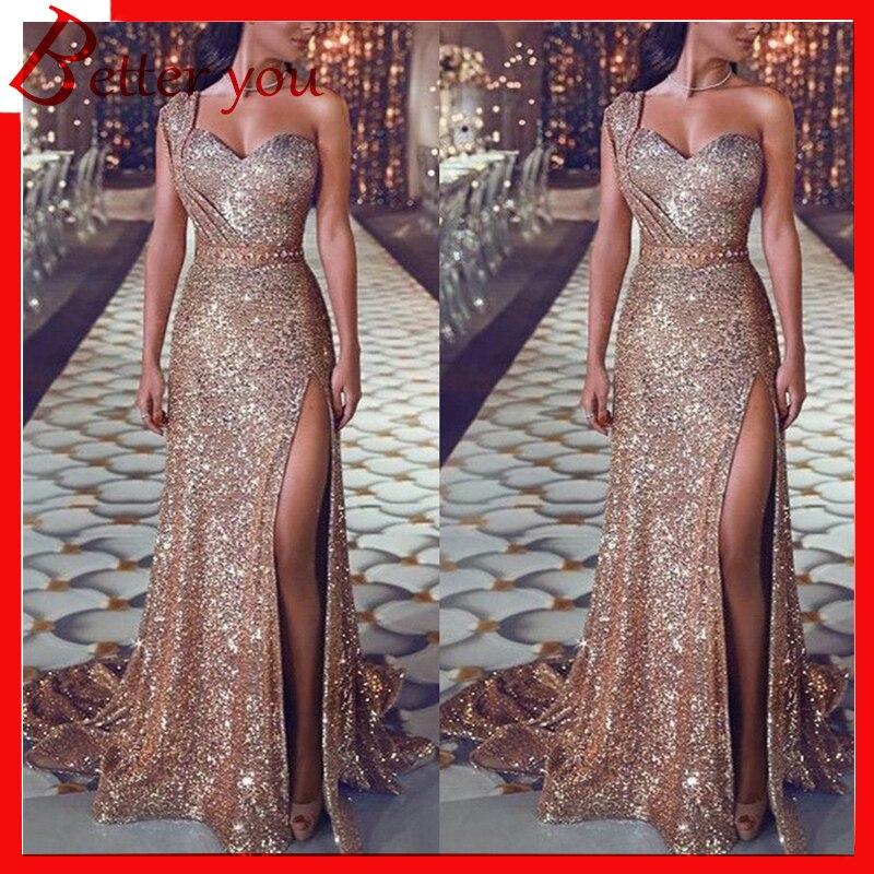 2019 femmes nouvelle robe Sexy robe formelle femmes élégant une épaule sans manches split longue fête club maxi robe