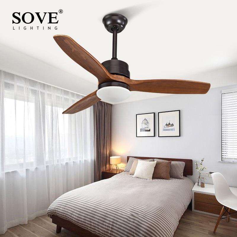 SOVE Modern LED 15W Village Wooden Ceiling Light Fan Wood Ceiling Fans With Lights Home Decorative Room Ceiling Fan Lamp 220v