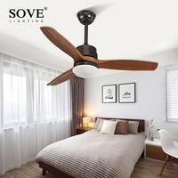 SOVE Modern LED 15W Village Wooden Ceiling Light Fan Wood Ceiling Fans With Lights Home Decorative Room Ceiling Fan Lamp 220v