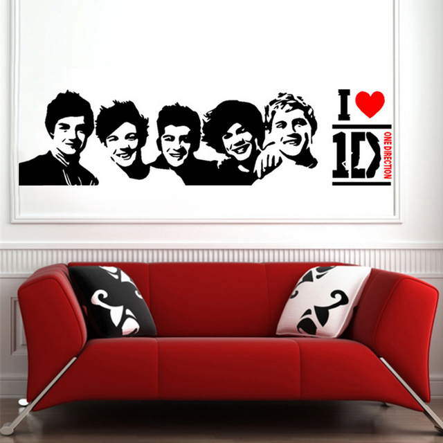 Super cool one direction band diy wall sticker decal art mural removable home decoration