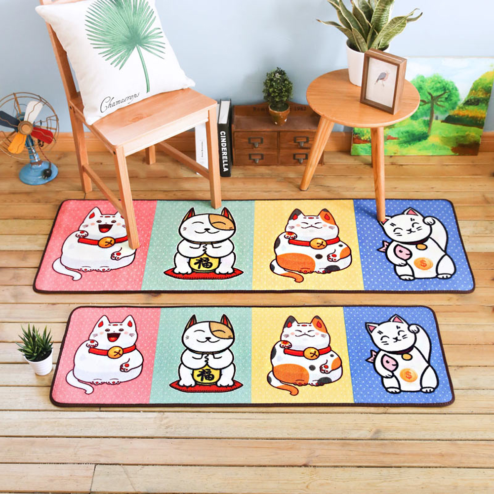 Japan Stye Cute Lucky Cat Doormat Rug and Carpet For Living Room Bedroom Bedside Cartoon Kids/Child Room Rugs Kitchen Foot Mats