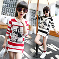 2017 Black Red Girls Cotton T-shirt Girl Brand T Shirt Little Big Girl Cartoon Striped Long Sleeve Tees Tshirt Children Clothing