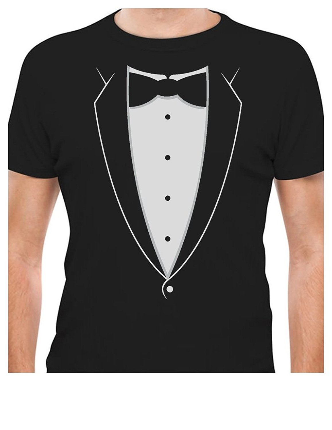 Screen t shirt crew neck short printed tuxedo with bowtie for Collar t shirt printing