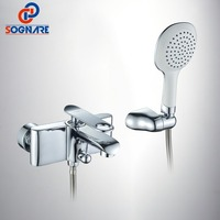SOGNARE Russia Style Chrome Brass Wall Mounted Bathroom Faucet Bath Tub Mixer Tap With Hand Shower