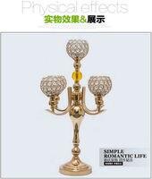 H53cm моды Франции золото 5 Arm подсвечники хрустальные подсвечники свадебные стеклянные подсвечники Металлические Фонари Свадьба ZT080