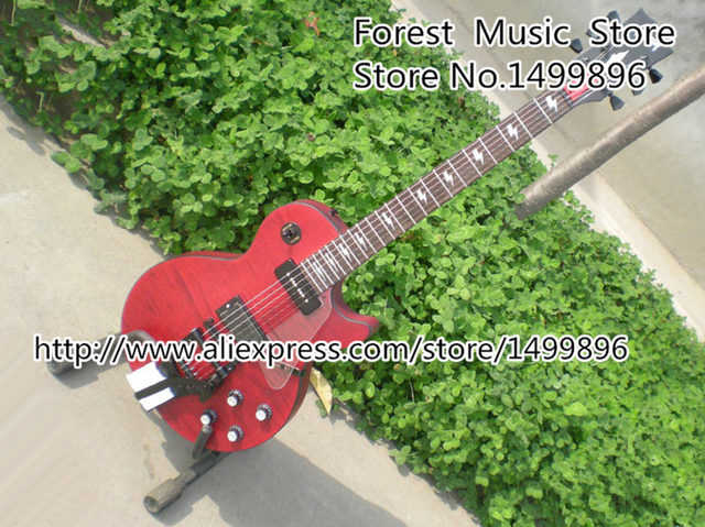 Cheap Classical Metal Red LP Model Electric Guitar Tiger Flame Finish Guitar Body with Bigsby Kits Lefy Custom Available
