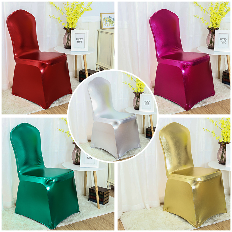 Metallic Shiny Gold And Silver Spandex Chair Cover Banquet