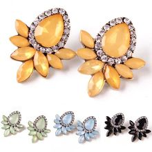 Vintage Trendy Geometric Leaves Water Drop Shape Crystal Rhinestone Wedding Statement Stud Earring brincos For Women Jewelry стоимость