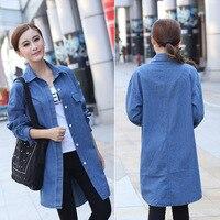 Vintage Autumn Women Soft Denim Shirt Lady Tunic Over Shirt In Denim Long Style Light Blue LN1796