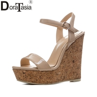 DoraTasia New Size 34 41 Sexy Platfrom Party Shoes Woman Brand Wedges High Heels Ankle Strap