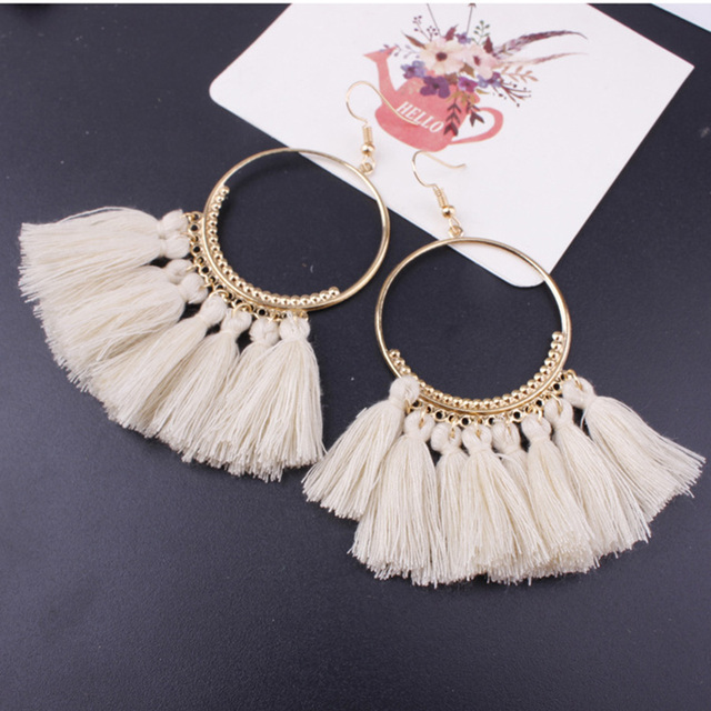 Lacoogh 2017 Ethnic Bohemia Drop Dangle Long Rope Fringe Cotton Tassel Earrings Trendy Sector Earrings for Women Fashion Jewelry 1