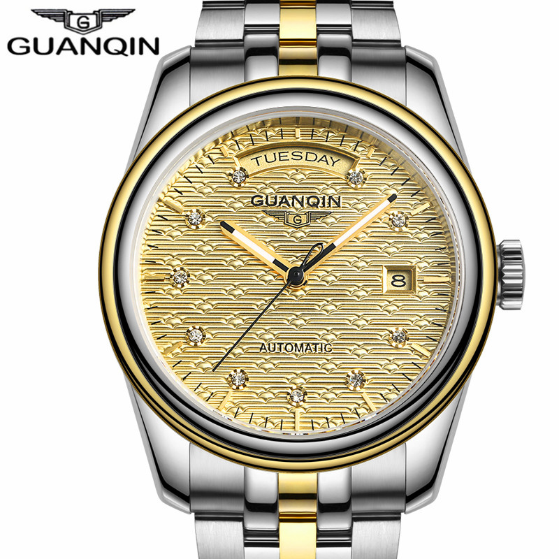 NEW GUANQIN Mens Watches  Top Brand Luxury Automatic Date Week Mechanical Watches Gold Stainless Steel Wristwatch reloj hombre mens watches top brand luxury 2017 aviator white automatic mechanical date day leather wrist watch business reloj hombre