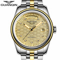 NEW GUANQIN Mens Watches  Top Brand Luxury Automatic Date Week Mechanical Watches Gold Stainless Steel Wristwatch reloj hombre