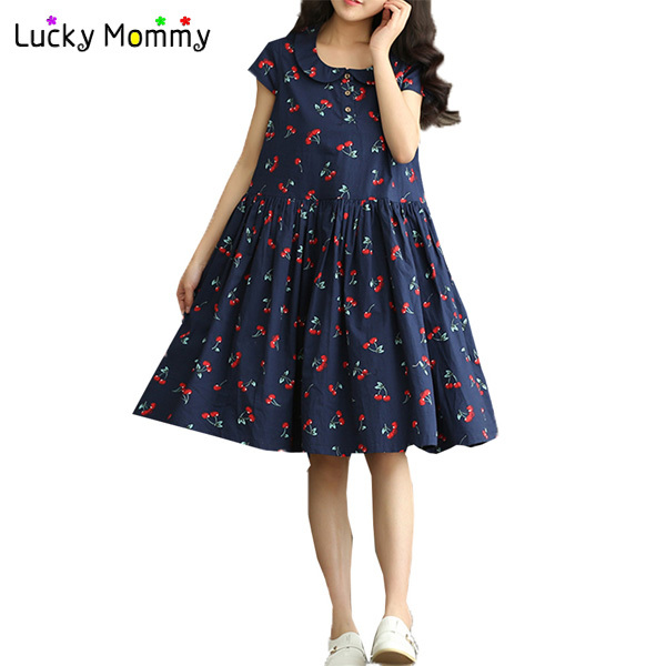 New Summer Vintage Maternity Dresses For Pregnant Women Cherry Printing Cute Dress Pregnancy Clothes Roupa Gestante In From Mother Kids