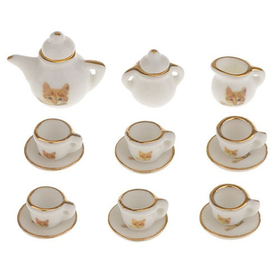 Provided Fbil-set Of 15pcs Dolls House Miniature Porcelain Tableware Coffee Tea Cup Saucer Set Cat Print Removing Obstruction Furniture Toys Toys & Hobbies