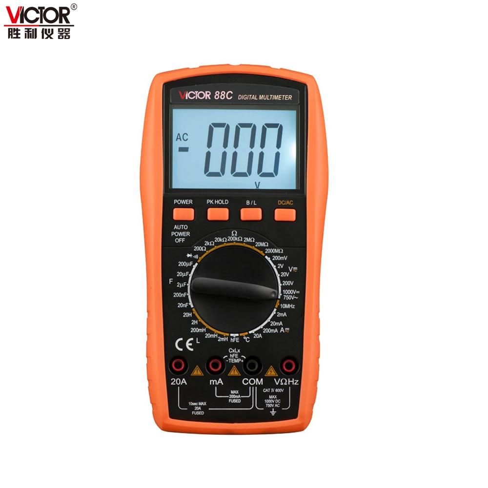 Victor VC88C Multimeter Professional Manual Range 2000 Counts 20A 1000V Resistance Capacitance Inductance Temperature nflc victor digital multimeter 20a 1000v resistance capacitance inductance temp vc9805a
