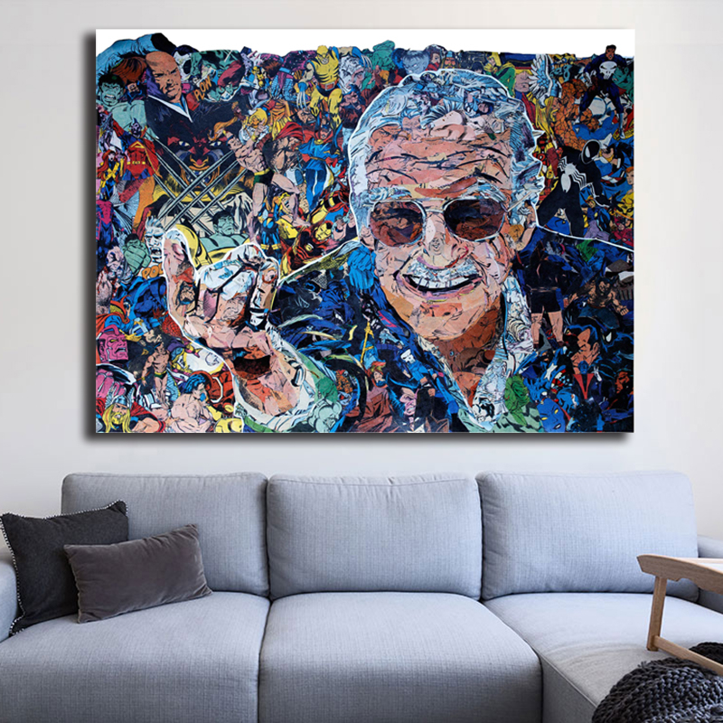 Stan Lee Marvel Movie Canvas Painting Oil Print Poster Wall Art Picture For Living Room Home Decoration Comics