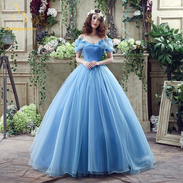 5ba3f14a9c0 2018 New Ball Gowns Sky Blue Cinderella Quinceanera Dresses Organza Ruffled  Dress15 Years Vestidos De 15 Anos In Stock QA814