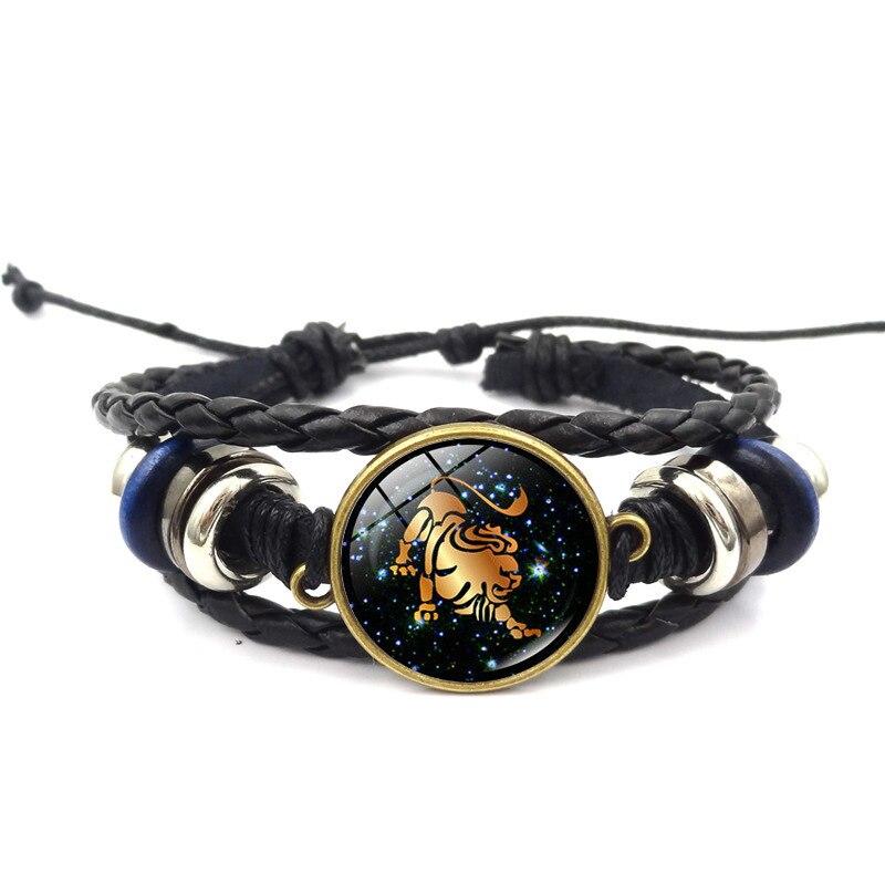 NEW 12 Zodiac Signs Leather Bracelet Men Women Virgo Libra Scorpio Aries Taurus Wrap Bracelets for Women Men Jewelry Pulseras