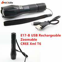 2017 SHuoLiDe New E17 B Cree Xml T6 1000 Lumen USB Rechargeable Flashlight Zoomable LED Torch
