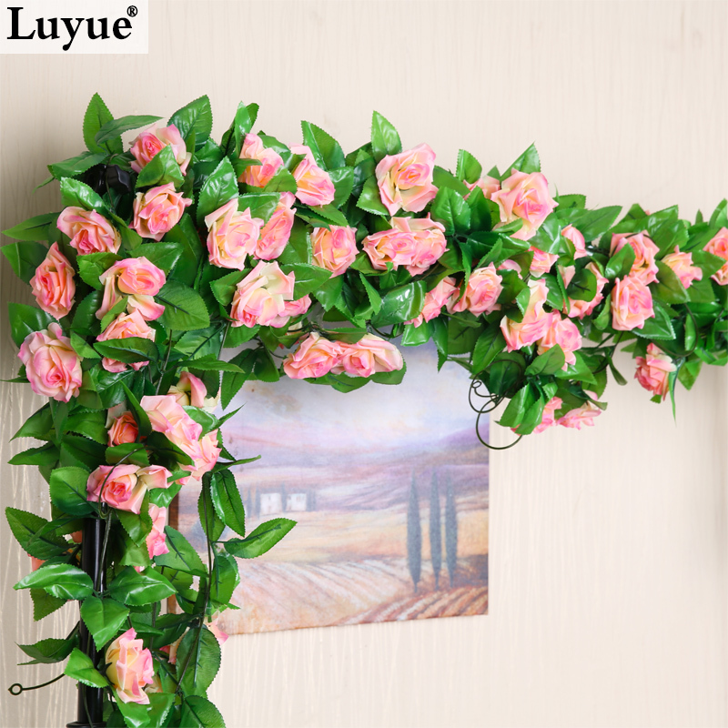 Luyue flor de flores wedding decoration flower silk rose flower luyue flor de flores wedding decoration flower silk rose flower fake artificial ivy vine hanging garland home rose rattan wreath in artificial dried junglespirit Image collections
