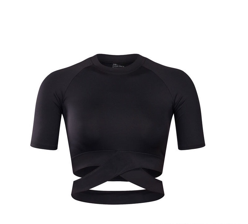 Womans fitness wear slimfit cross front bodycon short sleeve crop tops short sleeve sexy belly shirt jacket
