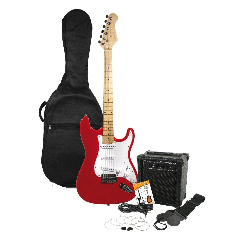 Nouveau rouge guitare électrique + 10 W Amp + Gig Bag Case + sangle de guitare + médiators + accordeur
