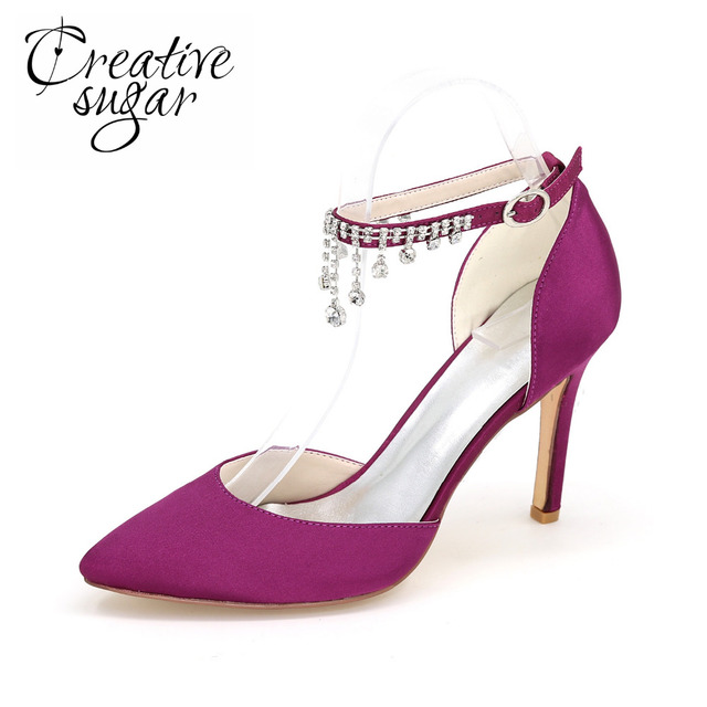 Creativesugar Pointed toe satin dress shoes with crystal tassel ankle strap  summer D orsay pumps bridal wedding party prom heels a263db2ba86