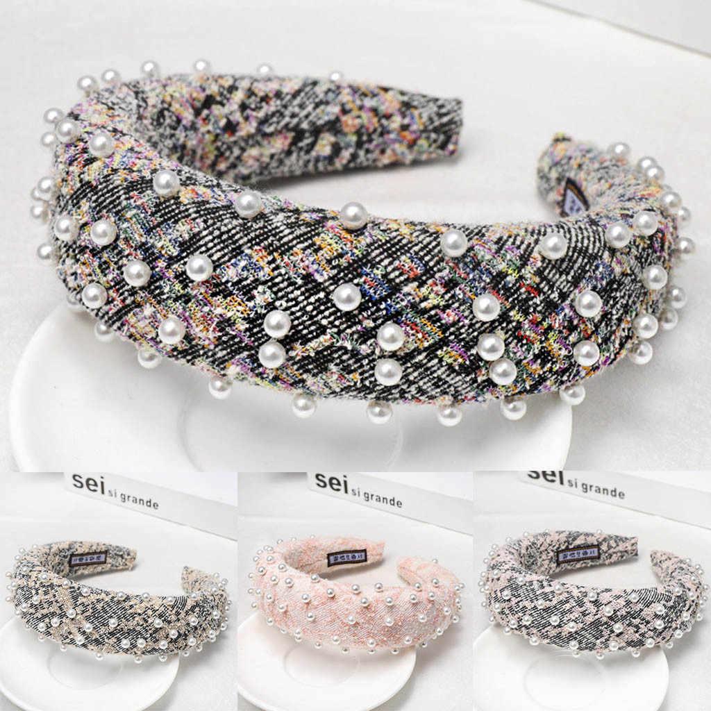 Diadema de perlas coreanas MUQGEW para mujer bisel lazo para cabello anudado Simple banda de pelo de mujer moda tocado de niñas para el pelo accesorios