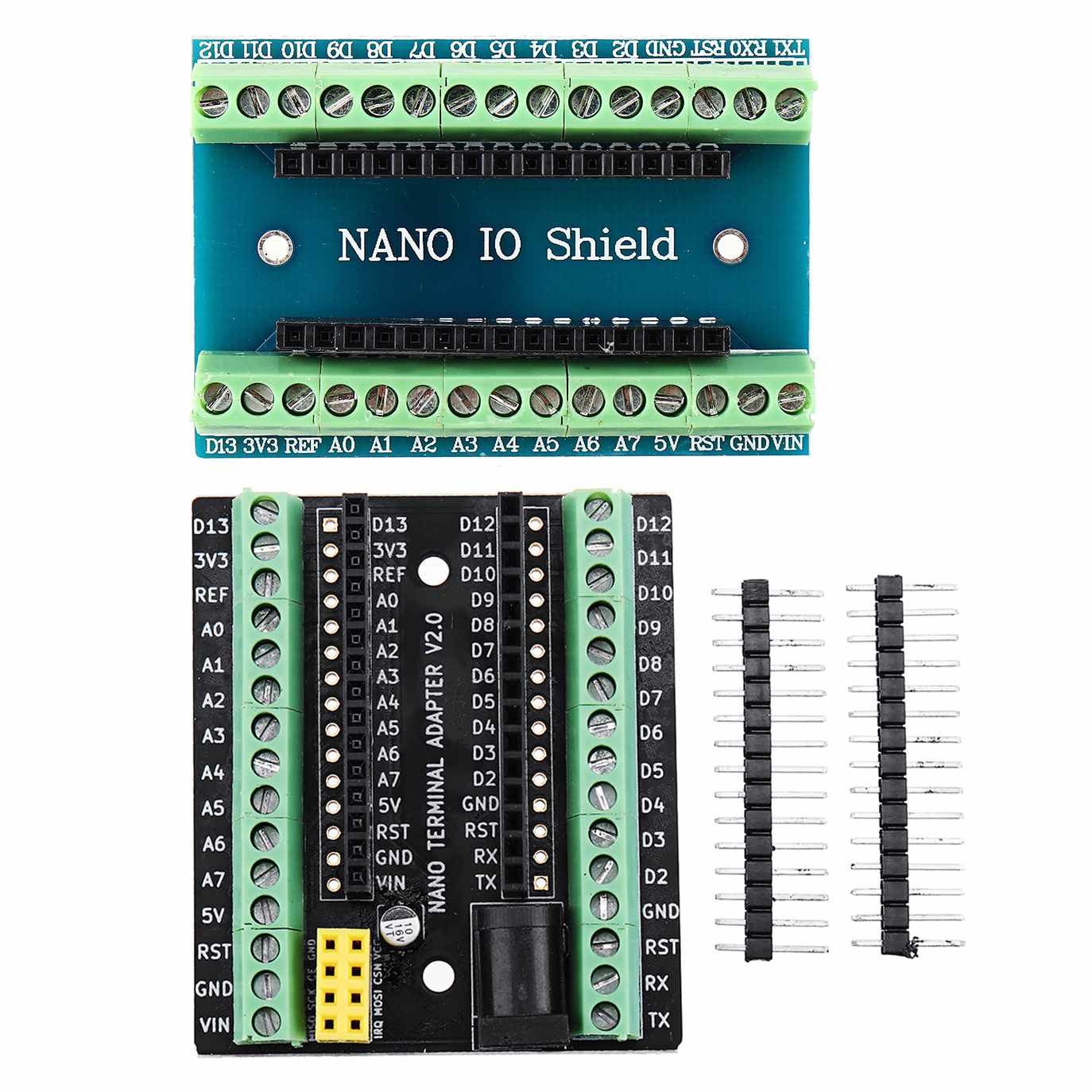 For Nano Terminal Expansion Adapter Board For Arduino For Nano V3.0 AVR ATMEGA328P With NRF2401+ Expansion Interface DC Power