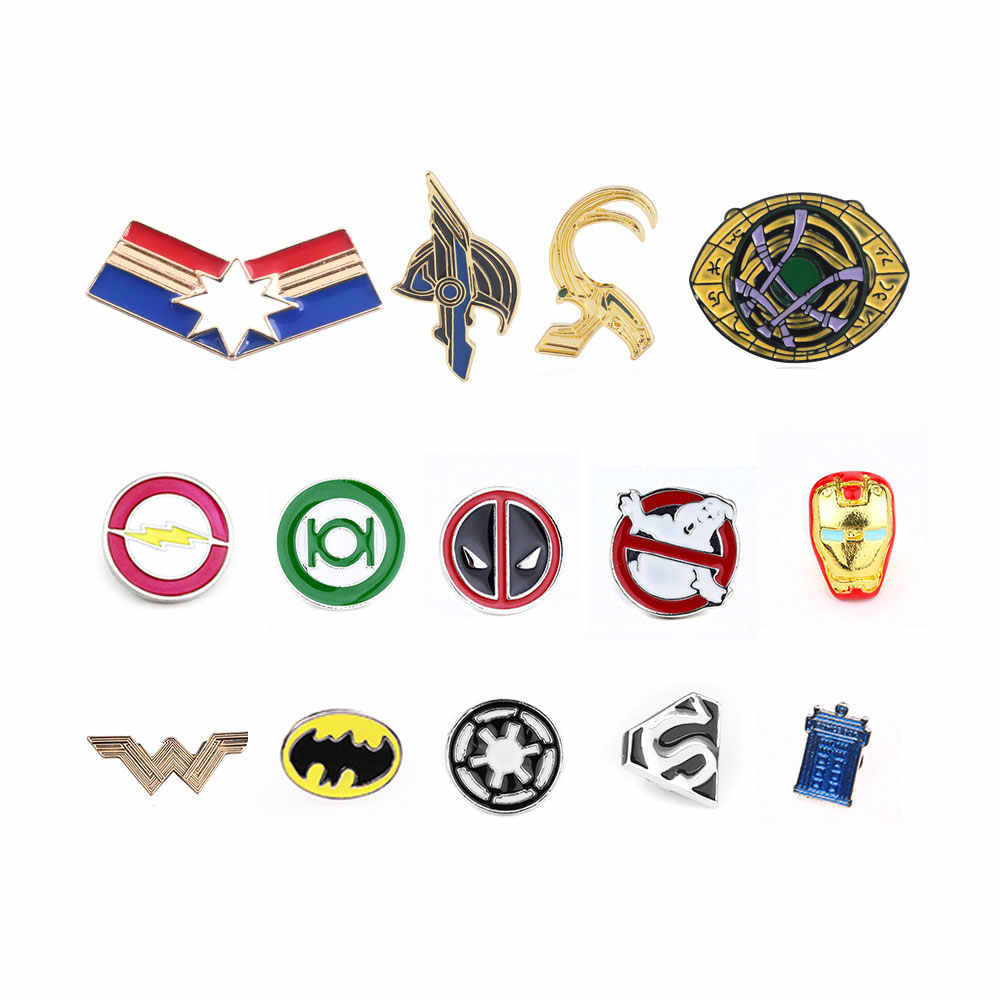 24 Gaya Marvel Avengers 4 Endgame Enamel Pin Bros Deadpool Ghostbusters Flash Batman Captain Marvel Lencana Bros Perhiasan