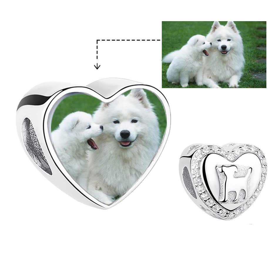 Forewe ส่วนบุคคล Custom Photo 925 เงินคริสตัลหัวใจสัตว์เลี้ยงสุนัข Charms พอดีสร้อยข้อมือสร้อยคอ DIY Original Jewel
