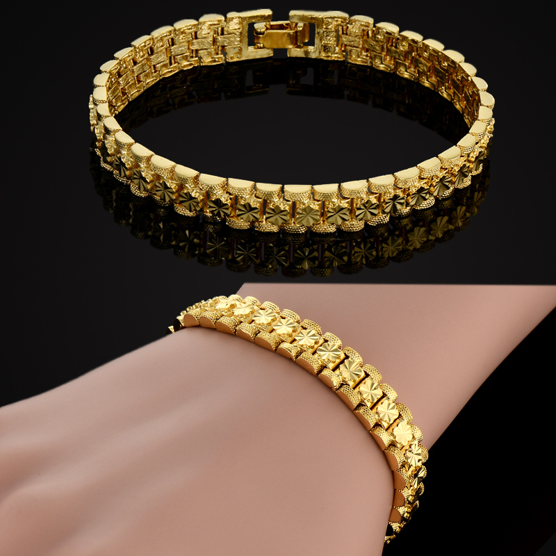 18k Real Gold Plated Watch Chain Bracelet For Women Vintage Charm