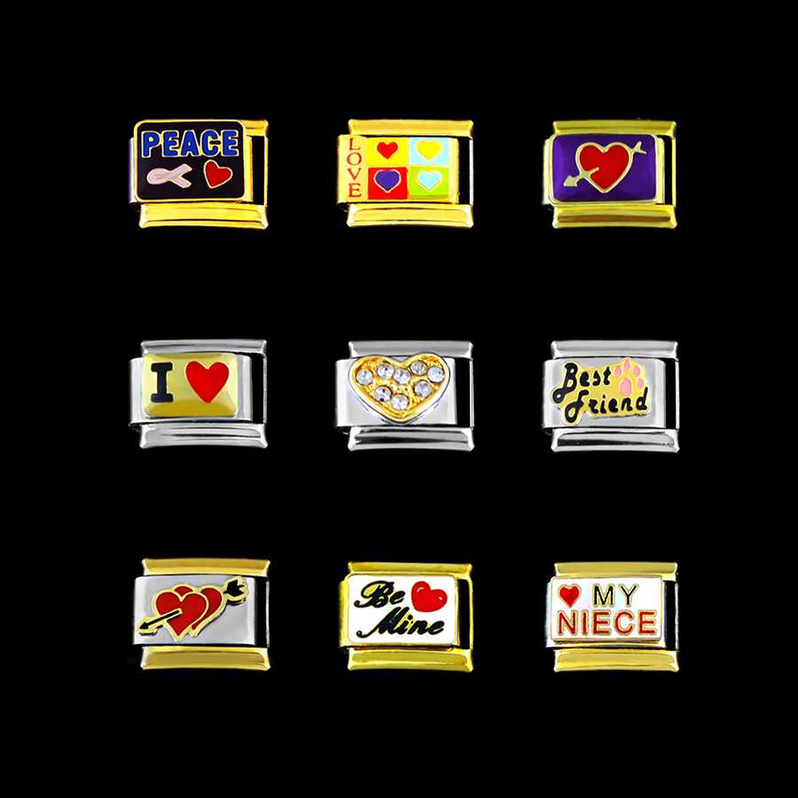 Шарм для Для женщин браслет Нержавеющаясталь браслет 9 мм я люблю Амур best друг племяннице Be Mine мира аксессуары Diy браслеты ...