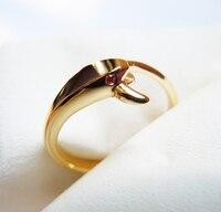 Твердого желтого золота оранжевый CZ Змея кольцо