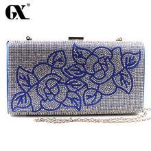 GX 2016 Classic Women Plant Gold Blue Black White Gold Purple Wedding Handbag Clutch Party Prom