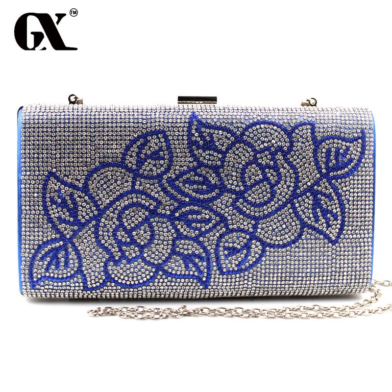 GX 2016 Classic Women Plant Gold Blue Black White Gold Purple Wedding Handbag font b Clutch