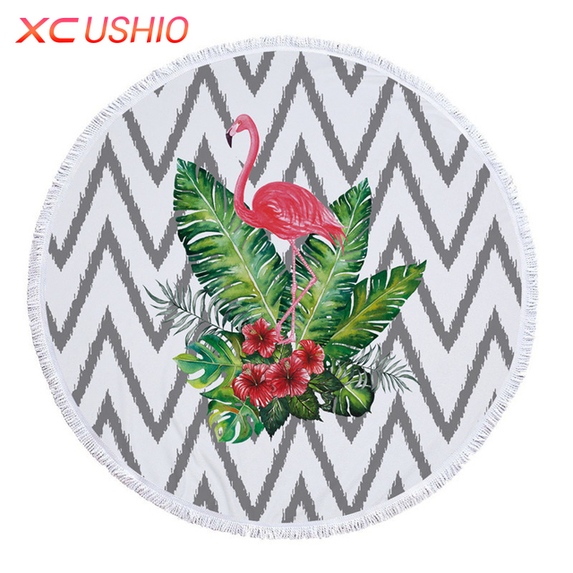XC USHIO Fashion Flamingo 150cm Round Beach Towel With Tassels 450g Microfiber Bath Towel Serviette De Bain Toalla De Playa