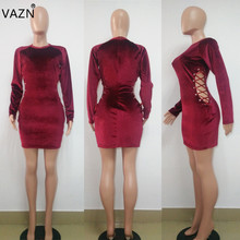 VAZN 2018 New Arrive Famous Brand Bandage Dress Full Sleeve Mini Dress O-Neck Red Sexy Bodycon Dress B9041