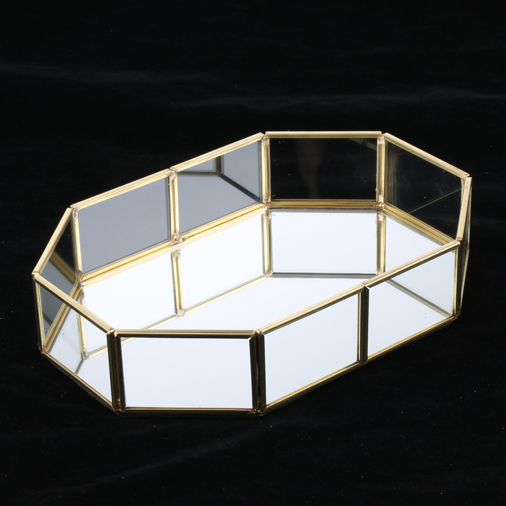 Fashion Brass Glass Jewelry Display Tray Cosmetic Organizer Storage Box Dessert Plate Decorative Tray